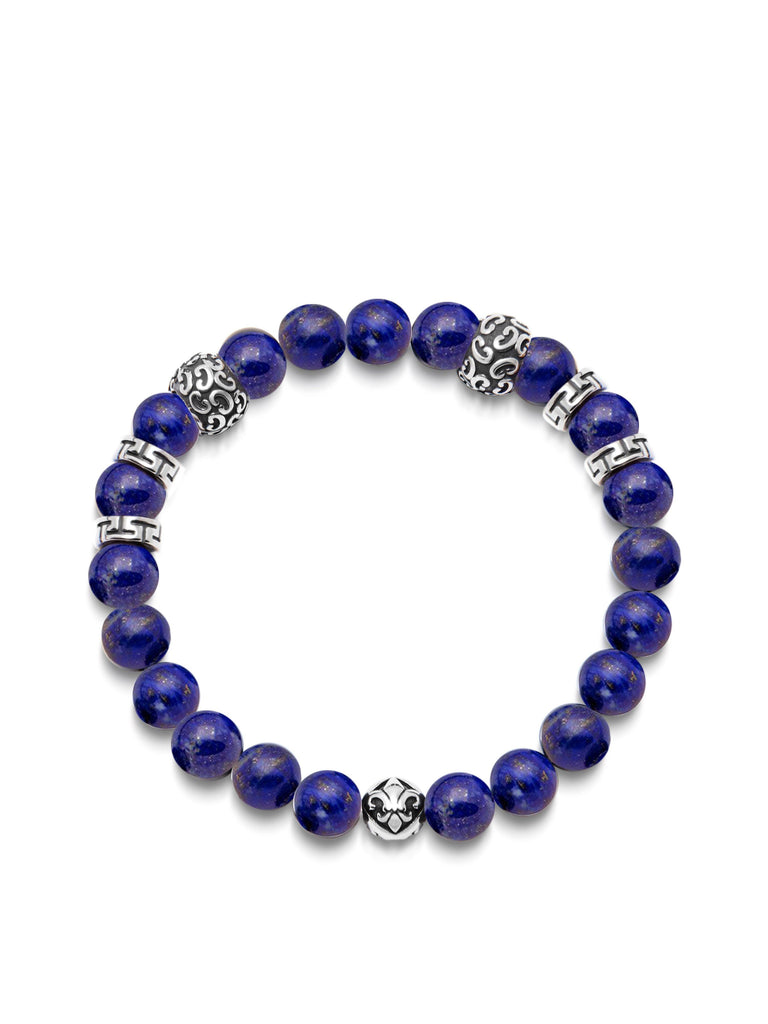 Men's Wristband with 8MM Blue Lapis and Silver