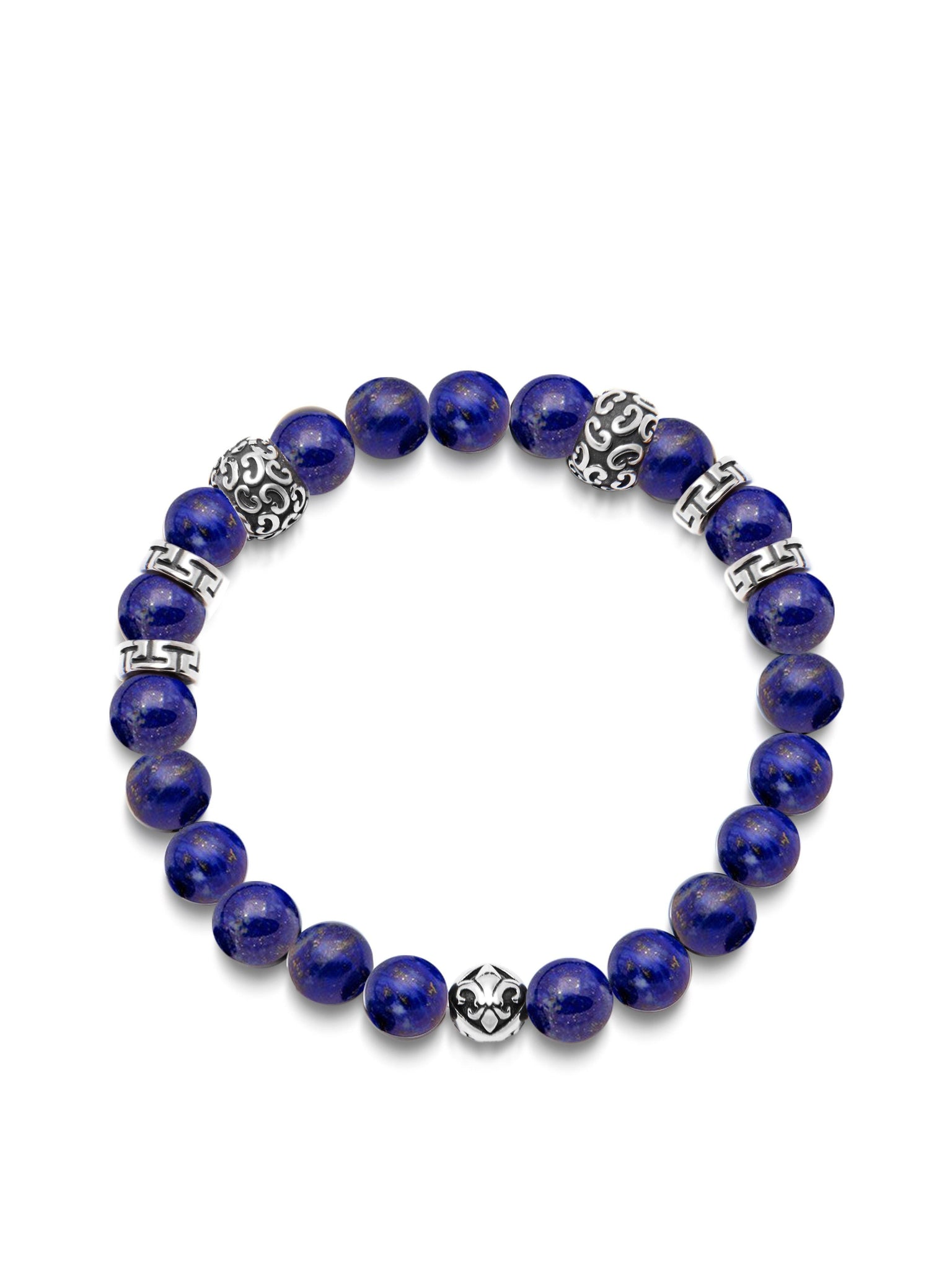 THE 10 YEAR ANNIVERSARY COLLECTION - Men's Wristband with 8MM Blue Lapis and Silver