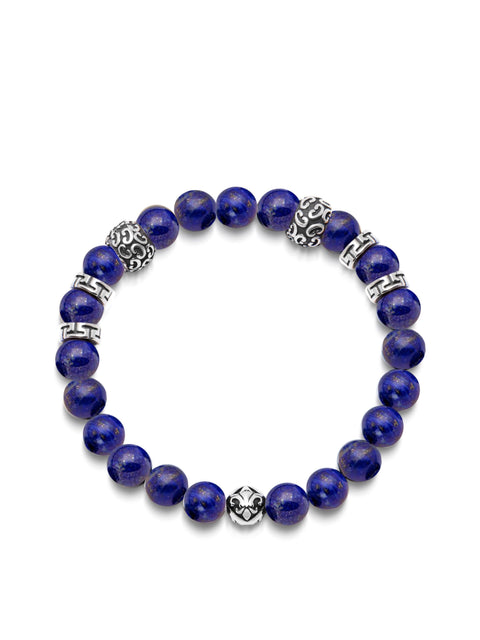 Men's Wristband with 8MM Blue Lapis and Silver - Nialaya Jewelry