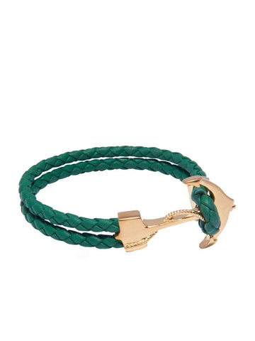 Men's Green Leather Bracelet with Gold Anchor