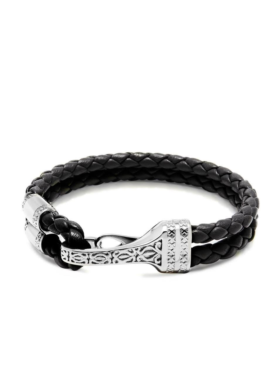 Men's Black Leather Bracelet with Silver Bali Clasp Lock