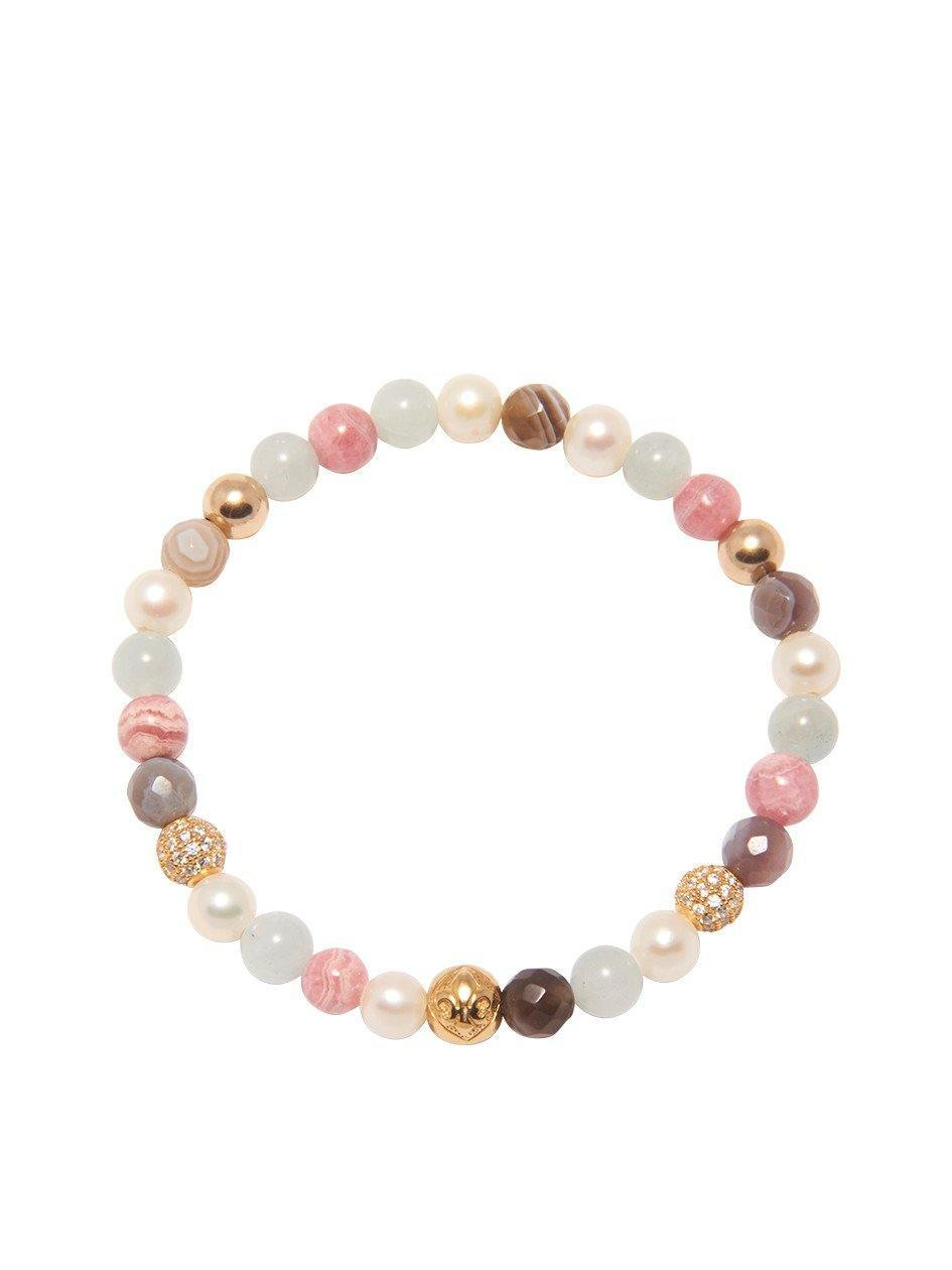 Women's Wristband with White Sea Pearl, Aquamarine, Botswana Agate and Rhodochrosite