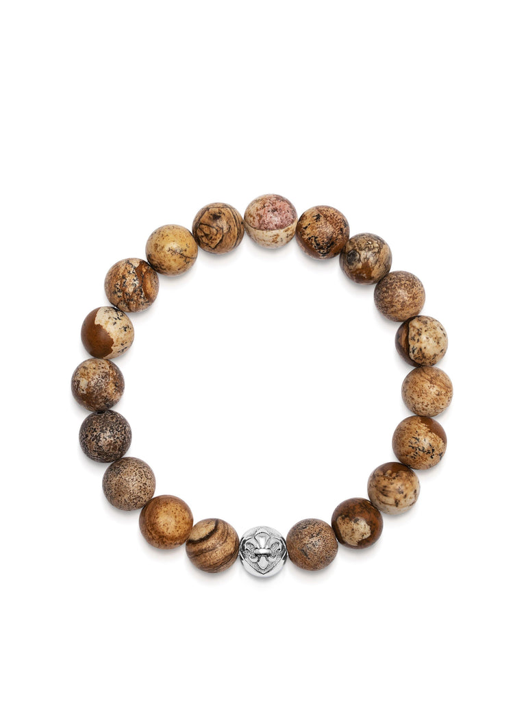Men's Wristband with Jasper and Silver Logo Beads