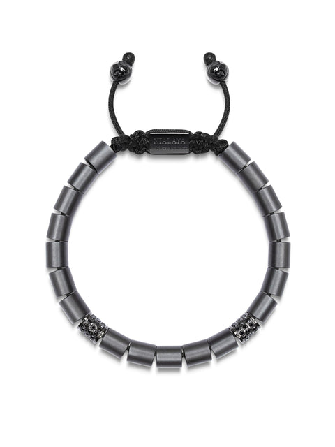 Men's Beaded Bracelet with Matte Hematite and Black Ruthenium Tube Beads with Black CZ Diamonds