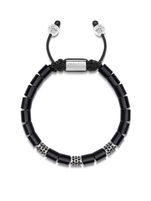 Men's Beaded Bracelet with Matte Onyx and Silver Tube Beads with Black CZ Diamonds