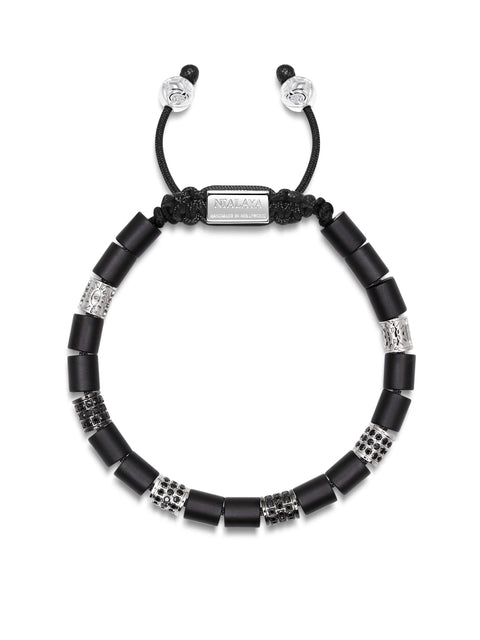 Men's Beaded Bracelet with Matte Onyx and Hand Carved Silver Tube Beads with CZ Diamonds
