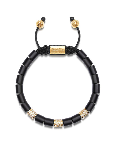 Men's Beaded Bracelet with Matte Onyx and Gold Tube Beads with Clear CZ Diamonds
