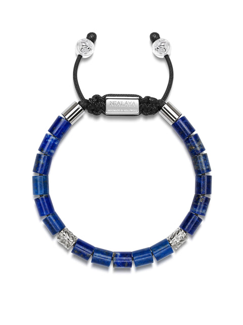 Men's Beaded Bracelet with Blue Lapis and Hand Carved Silver Tube Beads