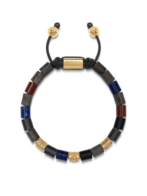 Men's Beaded Bracelet with Matte Hematite, Red Jasper, Blue Lapis, Black Driftwood and Hand Carved Gold Tube Beads