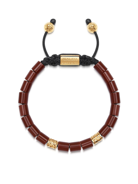 Men's Beaded Bracelet with Red Jasper and Hand Carved Gold Tube Beads