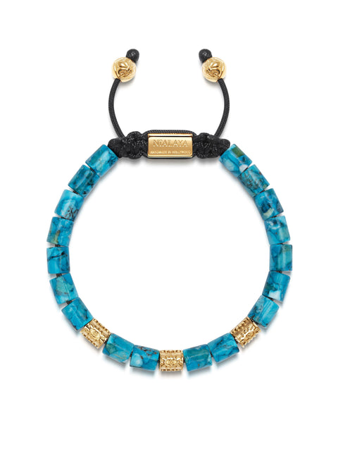 Men's Beaded Bracelet with Genuine Turquoise and Hand Carved Gold Tube Beads