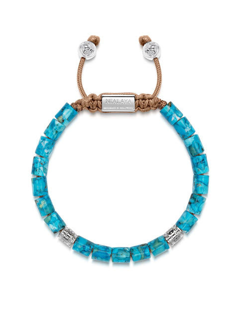 Men's Beaded Bracelet with Genuine Turquoise and Hand Carved Silver Tube Beads