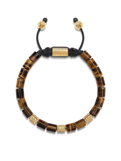 Men's Beaded Bracelet with Brown Tiger Eye and Hand Carved Gold Tube Beads