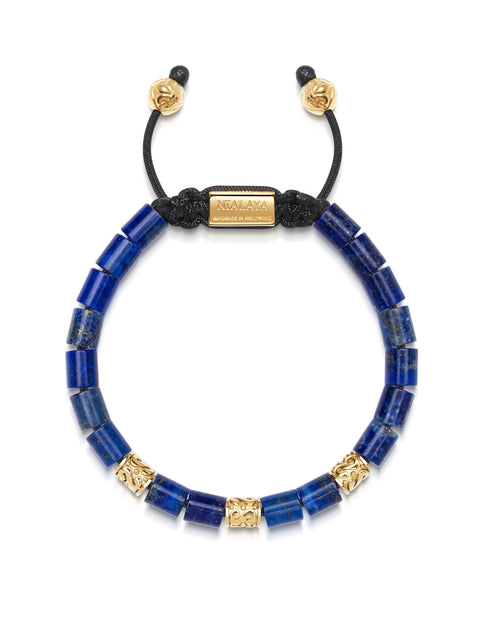 Men's Beaded Bracelet with Blue Lapis and Hand Carved Gold Tube Beads