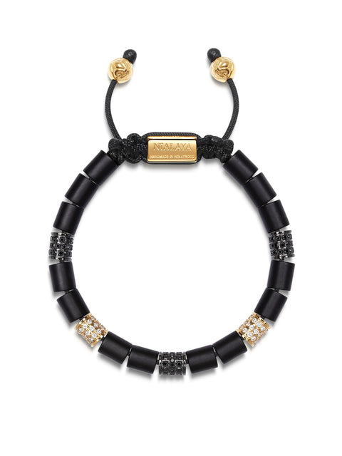 Women's Beaded Bracelet with Matte Onyx and Hand Carved Gold Tube Beads with CZ Diamonds