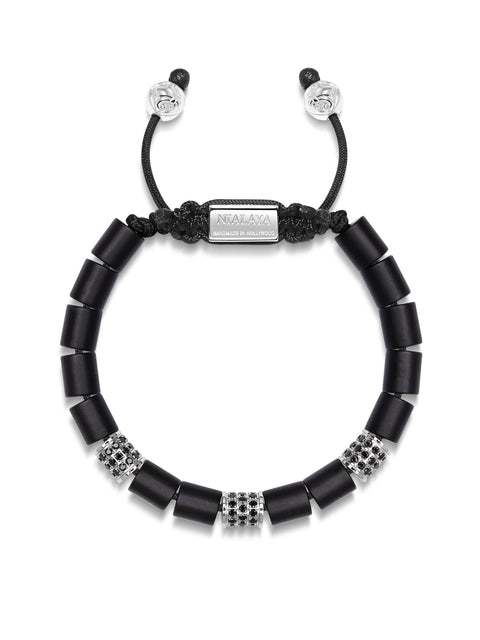 Women's Beaded Bracelet with Matte Onyx and Hand Carved Silver Tube Beads with Black CZ Diamonds