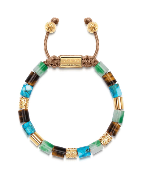 Women's Beaded Bracelet with Green Aventurine, Brown Tiger Eye, Genuine Turquoise and Hand Carved Gold Tube Beads