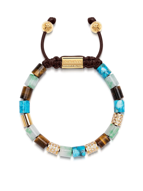 Women's Beaded Bracelet with Green Aventurine, Brown Tiger Eye, Genuine Turquoise and Hand Carved Gold Tube Beads with Clear CZ Diamonds