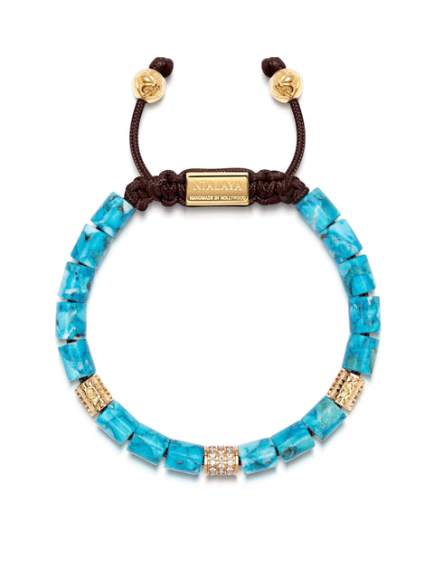 Women's Beaded Bracelet with Genuine Turquoise and Hand Carved Gold Tube Beads with Clear CZ Diamonds