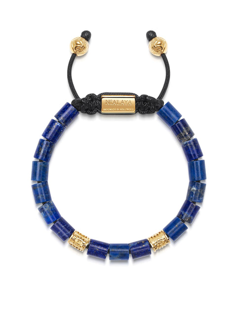 Women's Beaded Bracelet with Blue Lapis and Hand Carved Gold Tube Beads