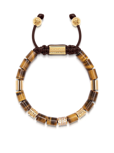 Women's Beaded Bracelet with Brown Tiger Eye and Hand Carved Gold Tube Beads with Clear CZ Diamonds