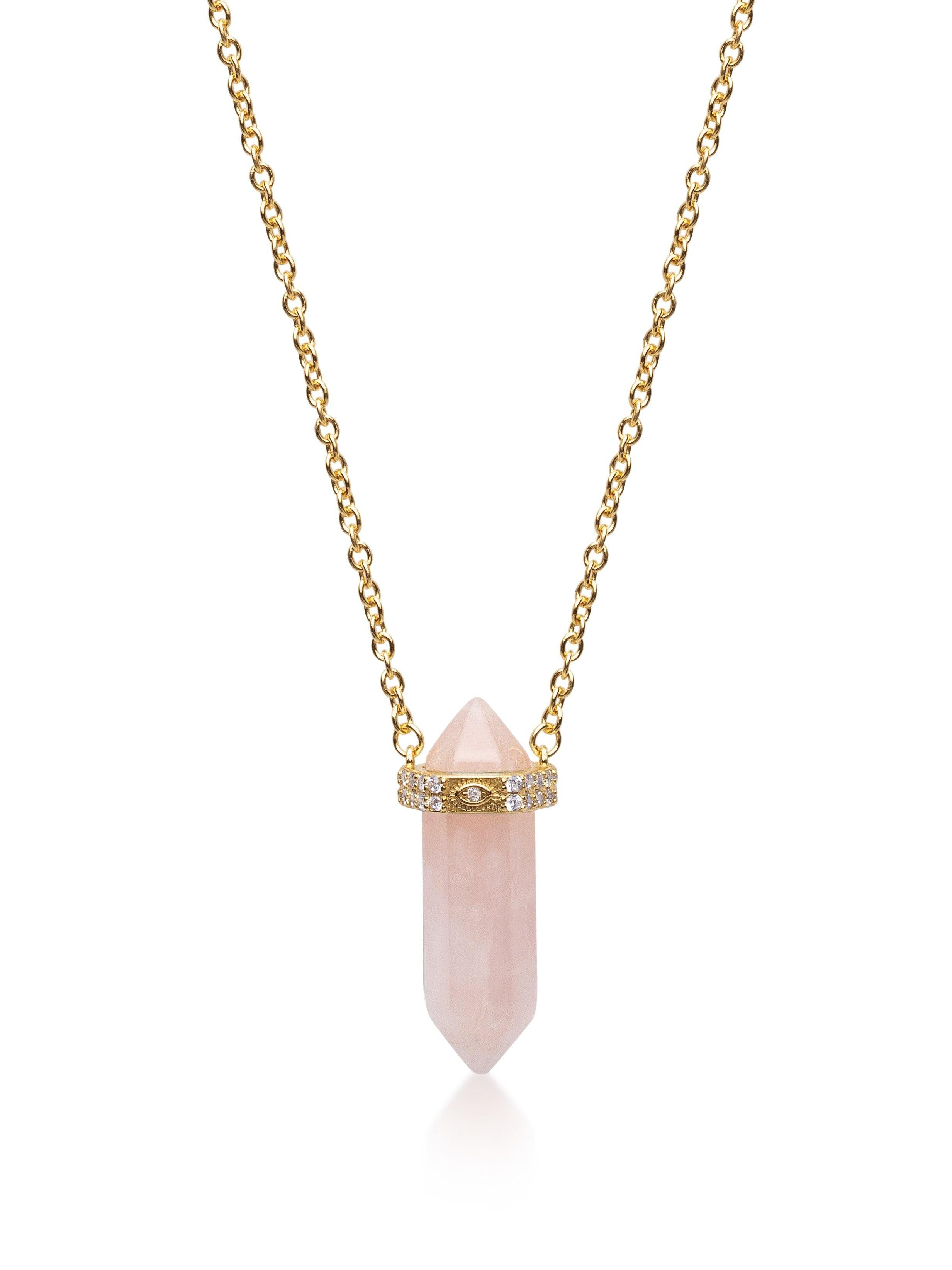 Women's Rose Quartz Crystal Necklace with Engraved Evil Eye Detail