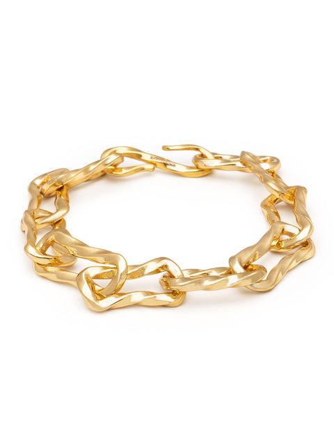 Women's Sterling Silver Chain Bracelet in Gold - Nialaya Jewelry