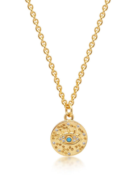 Women's Sterling Silver Mini Evil Eye Necklace with Turquoise - Nialaya Jewelry