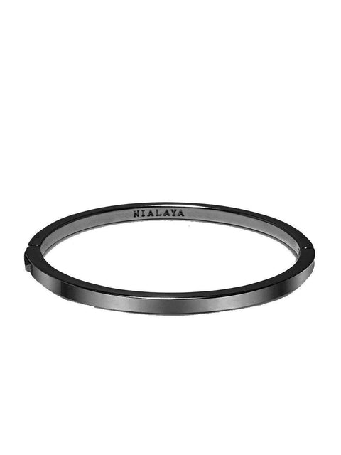 Men's Black Simplicity Bangle - NIALAYA INC