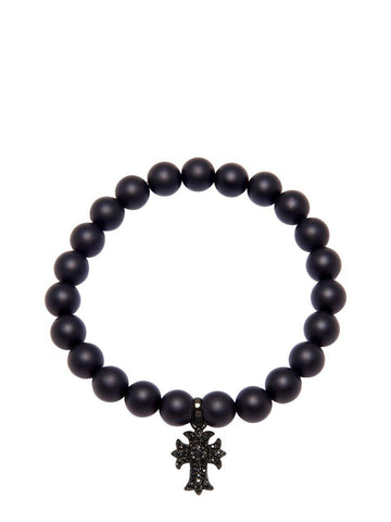 Men's Wristband with Matte Onyx and Cross