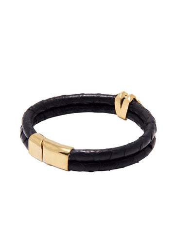 Men's Python Collection - Black Python with Diamond Shaped Gold Accent - Nialaya Jewelry  - 3
