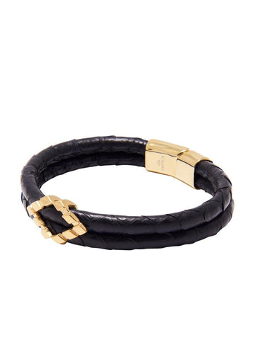 Men's Python Collection - Black Python with Diamond Shaped Gold Accent