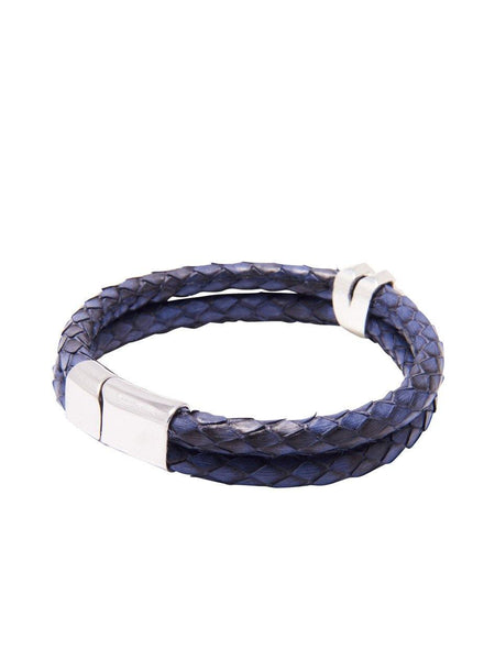 Men's Python Collection - Blue Python with Diamond Shaped Silver Accent - Nialaya Jewelry  - 2