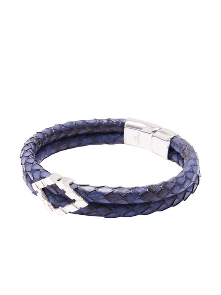 Men's Python Collection - Blue Python with Diamond Shaped Silver Accent - Nialaya Jewelry  - 1