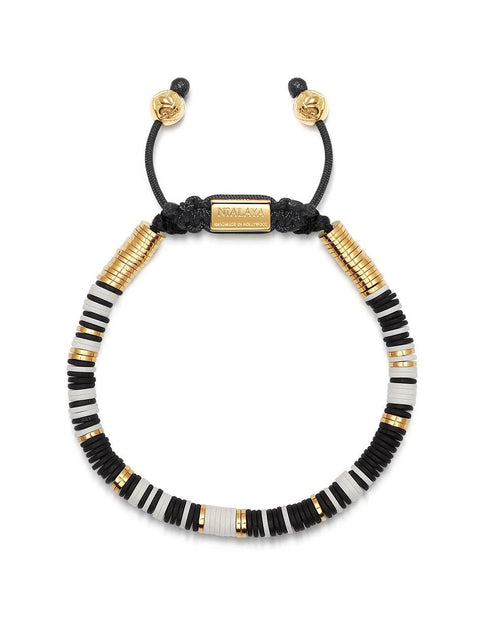 Men's Beaded Bracelet with Black and White Disc Beads and Gold