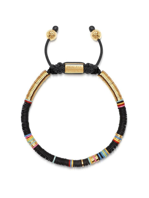 Men's Beaded Bracelet with Black Disc Beads and Gold - Nialaya Jewelry