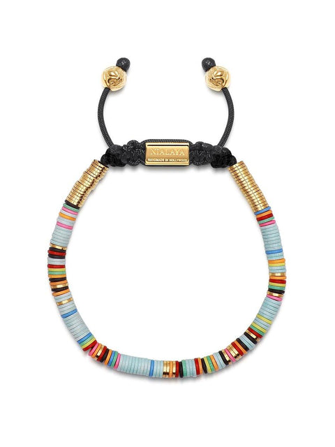 The Tulum Collection - Men's Beaded Bracelet with Light Blue Disc Beads and Gold