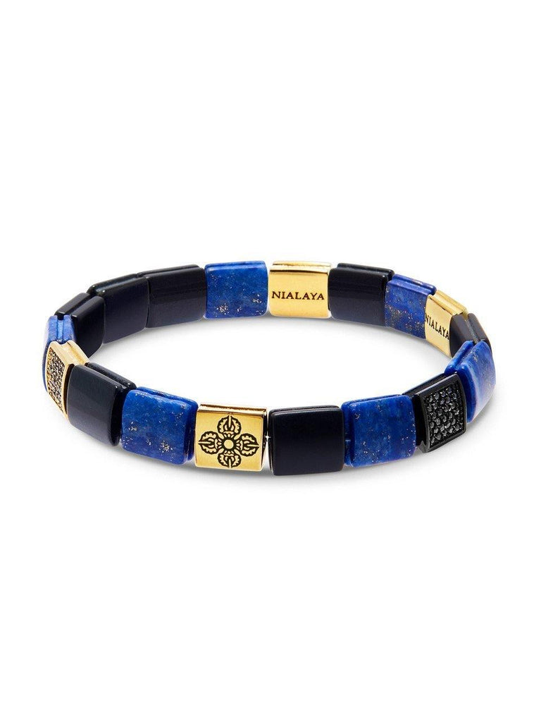 Men's Wristband with Matte Onyx, Blue Lapis and Gold Dorje Flatbeads