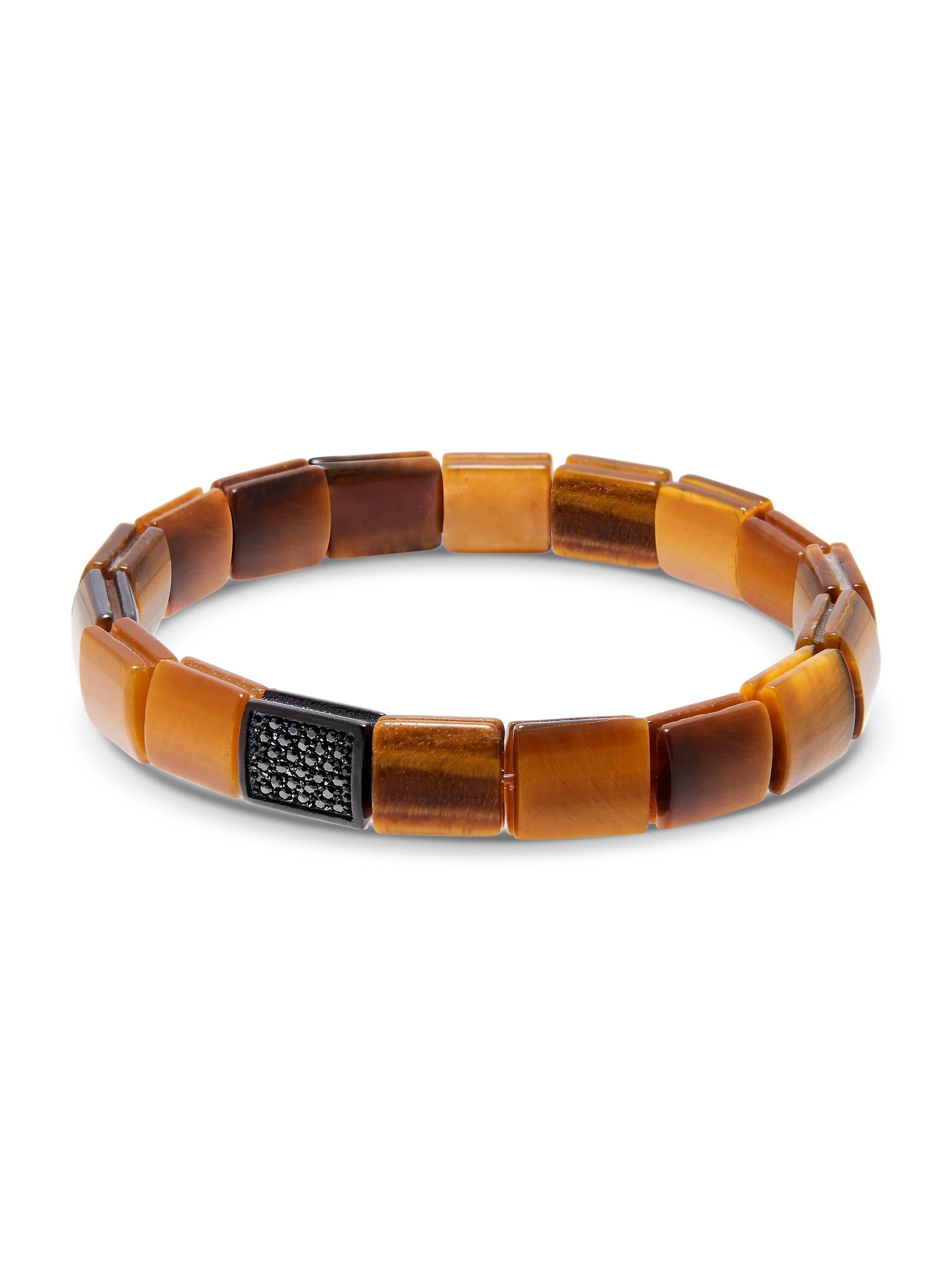 Men's Wristband with Brown Tiger Eye and Black CZ Diamond Flatbeads