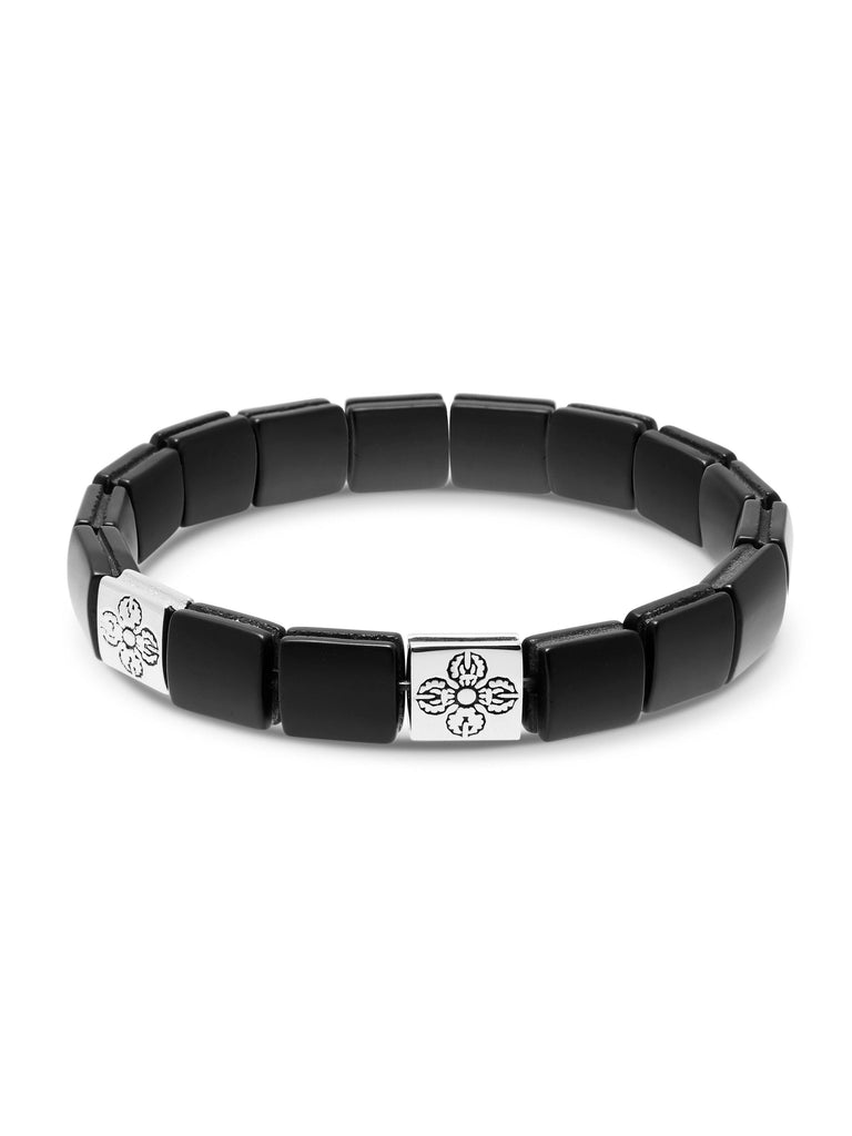 Men's Wristband with Matte Onyx and Silver Dorje Flatbeads
