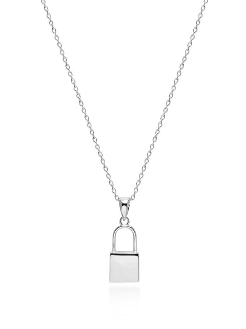 Lock Necklace in Silver - Nialaya Jewelry