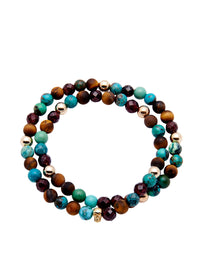 Nialaya Men's 14K Gold Collection - Men's 14K Gold Collection - Matte Tiger Eye, Bali Turquoise, Garnet and Gold with Gold Skull