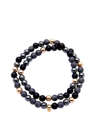 Nialaya Men's 14K Gold Collection - Men's 14K Gold Collection - Matte Onyx, Hematite, and Gold with Gold Skull
