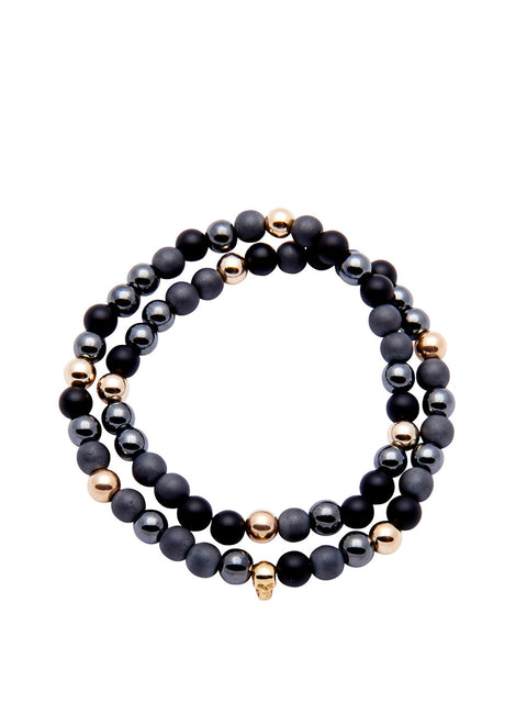 Men's 14K Gold Collection - Matte Onyx, Hematite, and Gold with Gold Skull - Nialaya Jewelry  - 1