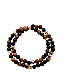 Nialaya Men's 14K Gold Collection - Men's 14K Gold Collection - Tiger Eye, Matte Onyx and Gold with Gold Skull