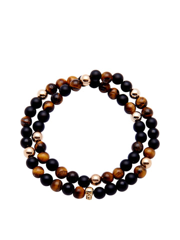 Men's 14K Gold Collection - Tiger Eye, Matte Onyx and Gold with Gold Skull