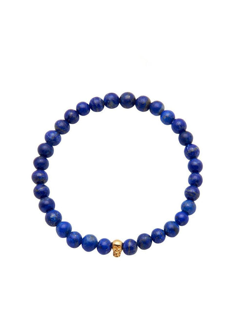 Men's 14K Gold Collection - Blue Lapis with Gold Skull - Nialaya Jewelry  - 1