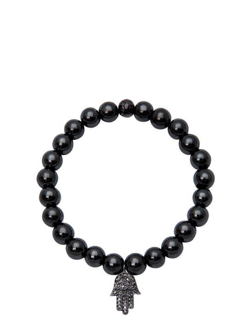 Men's 14K Gold Collection - Agate with Diamond Hamsa Hand