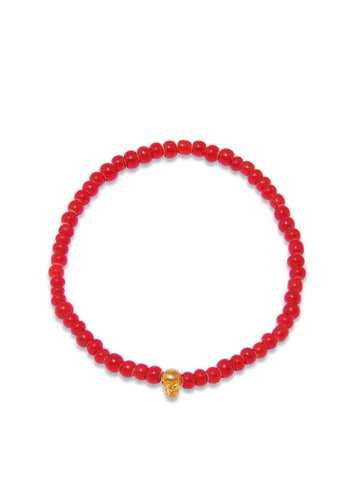 Men's 14K Gold Collection - Red Glass Beads with Gold Skull