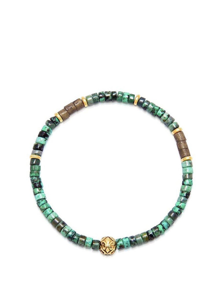 Men's Wristband with African Jade and Gold Heishi Beads